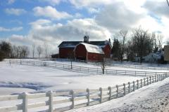 Snowy barn in Rush, NY